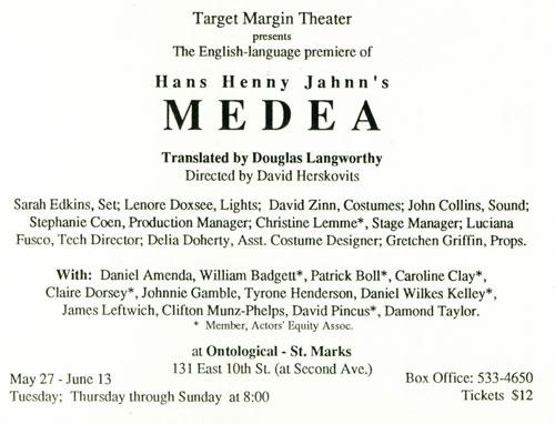 Medea May 27 - June 13, 1993