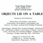 Objects Lie On A Table January 6 - January 23, 1993